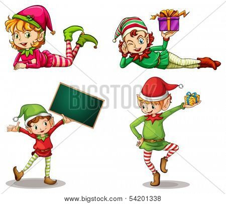 Illustration of the dwarves wearing hats for Christmas and an empty signboard on a white background