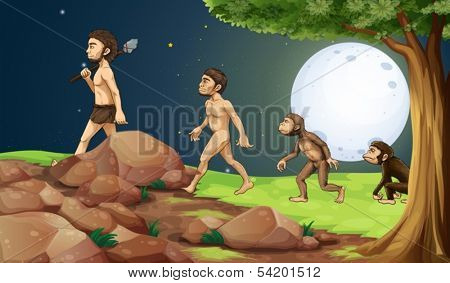 Illustration of the evolution of man in the hilltop