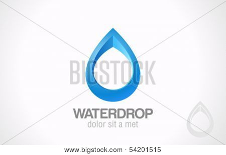Water drop abstract vector logo design template. Waterdrop blue 3d. Creative shape Aqua droplet icon