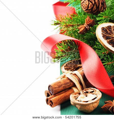 Christmas Spices In Festive Setting