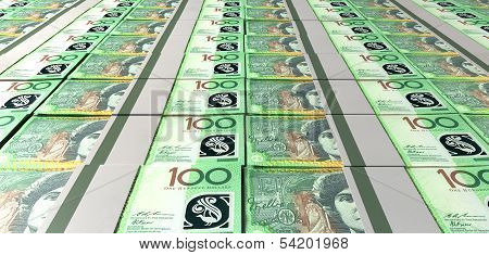 Australian Dollar Bill Bundles Laid Out