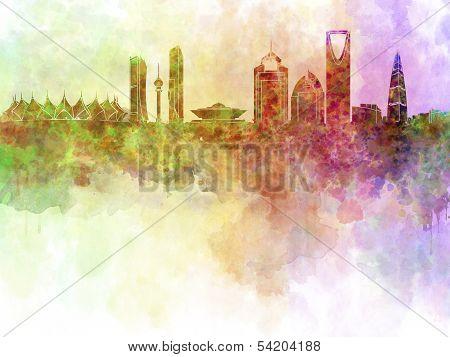 Riyadh Skyline In Watercolour Background