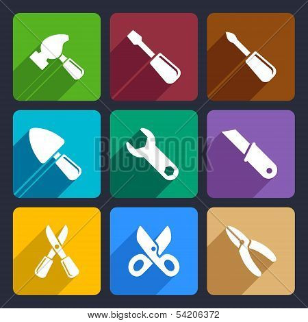 Working tools flat icon set 12