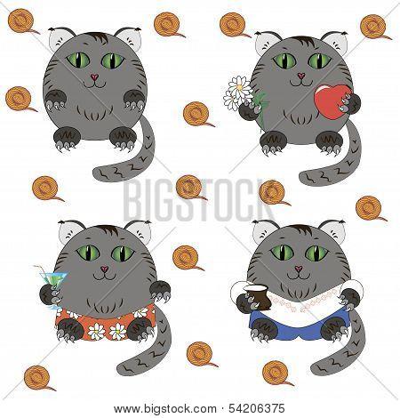 Cat cartoon caracter vector set