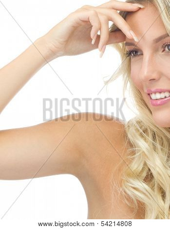 portrait of attractive  caucasian smiling woman blond isolated on white studio shot  lips toothy smile face long hair head and shoulders armpit underarm axillary space