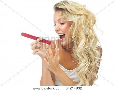 portrait of attractive  caucasian smiling woman blond isolated on white studio shot  toothy smile face long hair head and shoulders nails emery board manicure