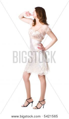 Pensive Woman In Silver Dress