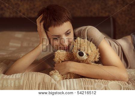 Pretty Girl With A Teddy Bear
