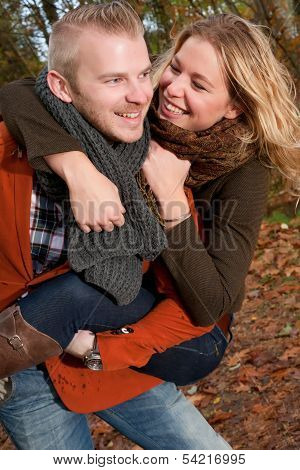 His Girlfriend Is Smiling While Riding Piggyback