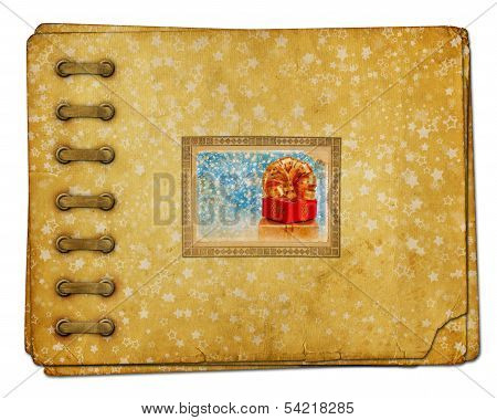 Vintage Photoalbum For Photos With Gift Boxes And Beautiful Golden Bow On White Isolated
