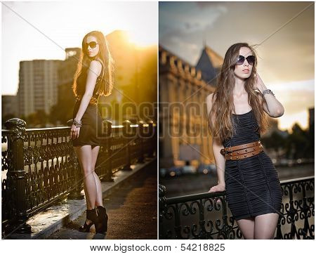 Fashion model on the street with sunglasses and short black dress. Fashionable girl with long legs