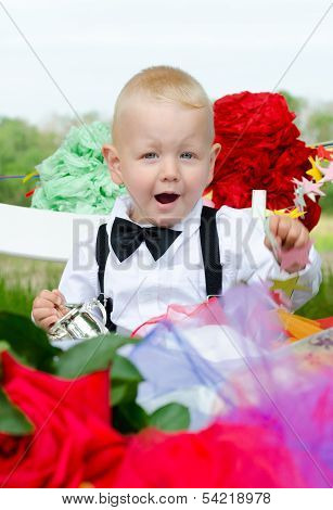 Enthusiastic Baby Boy At Festive Table