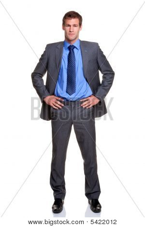 Businessman Hands On Hips Isolated