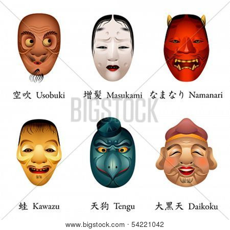 Japanese masks - usobuki, masukami, namanari, kawazu, tengu, daikoku