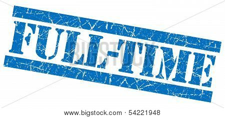 Full-time Grunge Blue Stamp