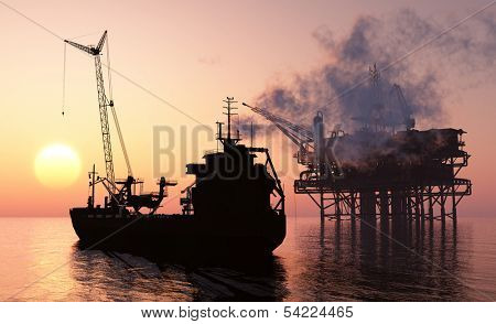 Silhouette tanker and plant for the extraction of oil.