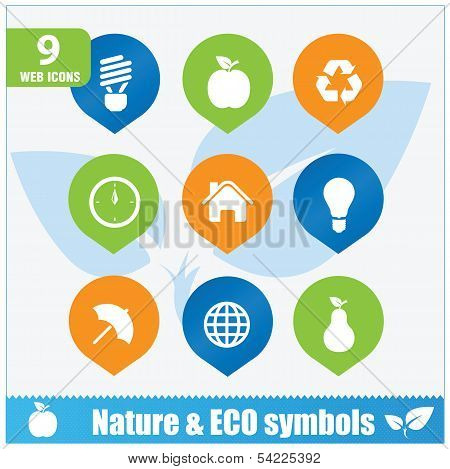 Nature ecology symbols set