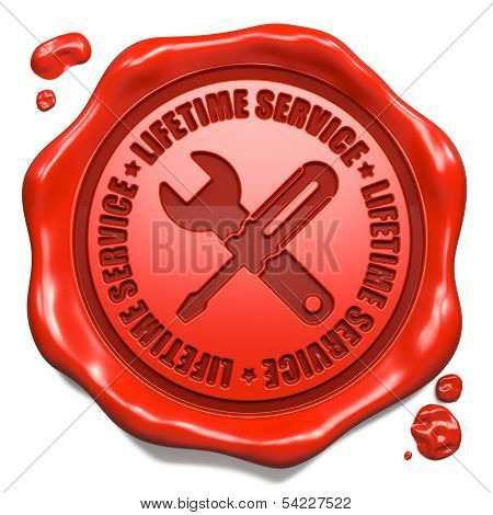 Lifetime Service - Stamp on Red Wax Seal.