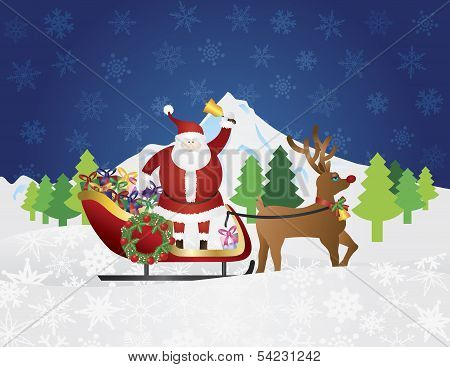Santa Claus On Reindeer Sleigh With Presents Night Snow Scene