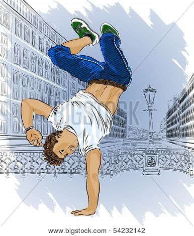 Street dancer on sity abstract background