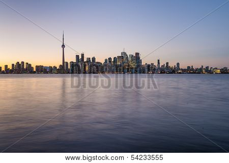 Downtown Toronto With Strong Back Light