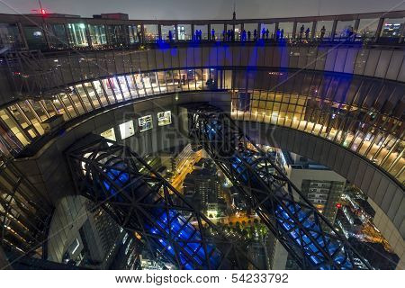Wide Angle Photo Of The Top Of  Umeda Sky Building In Osaka Japan