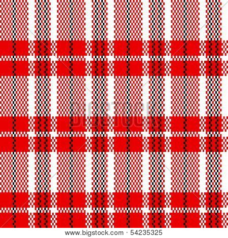 Chinese plastic woven checkered bag seamless pattern in red black and white, vector