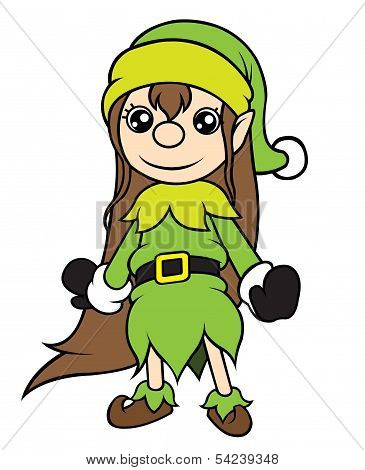 Christmas Elf Girl Standing