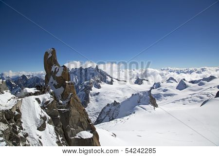 Peak and observation point Rebuffat at the mountain top station of the Aiguille du Midi in French A