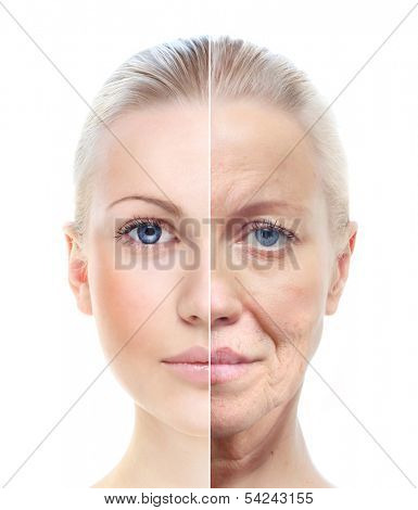 Woman's portrait isolated on white, 20,60 years old.