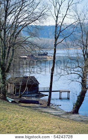 Aiguebelette Lake And Wooden Boathouse In France