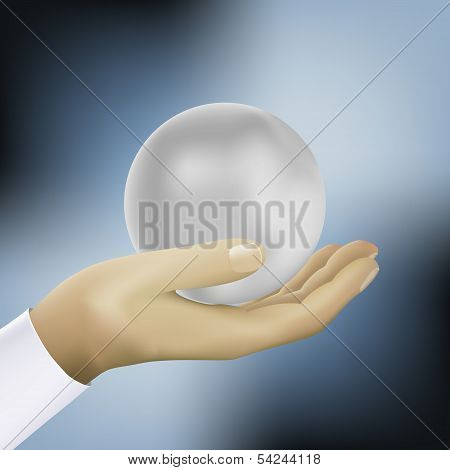 ball on the hand vector