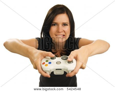 Girl  Holds Video Game Controller