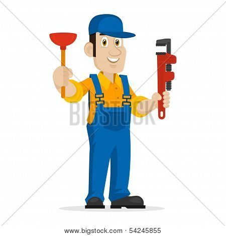 Plumber holds plunger and adjustable spanner