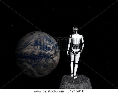 Robot Woman Looking At Earth.