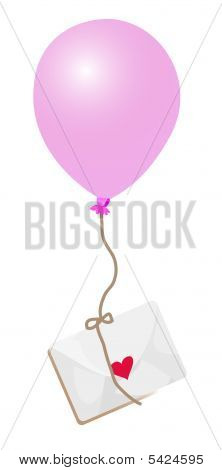 Pink Ballon And An Envelope