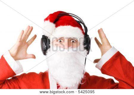 Santa Listening A Music