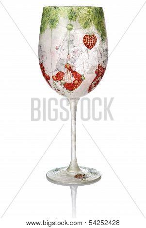 Christmas Decoupage On The Wine Glass