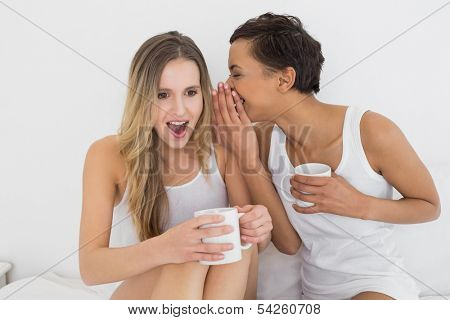 Relaxed young female friends with coffee cups gossiping in bed at home