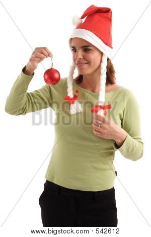 Pretty Woman Holding Red Bauble