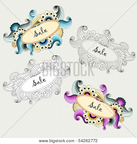 Set of colorful cosmetics labels and stickers
