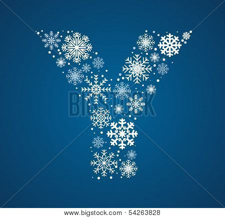 Letter Y, vector font frosty snowflakes