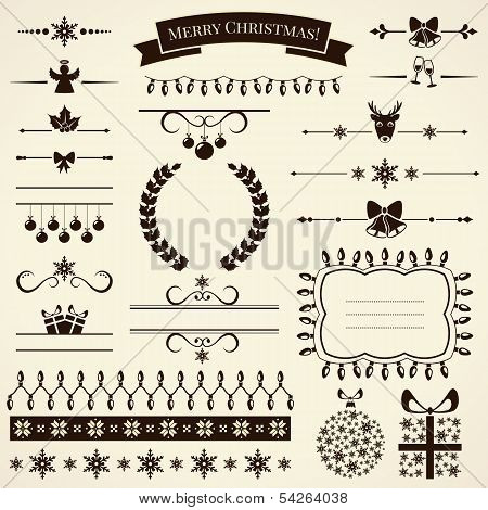 Collection Of Christmas Design Elements. Vector Illustration.