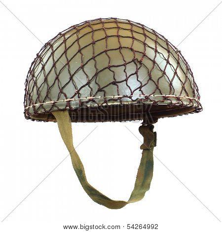Retro military helmet ( paratrooper's helmet) on a white background.