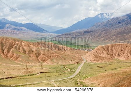 Country road in colorful Tien Shan mountains