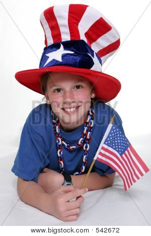 Patriotic Young Girl With Young Patriotic Girl In Laying Positio