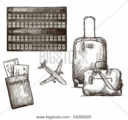 Airplane travel timetable vector illustration.