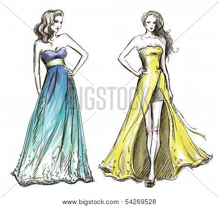 Fashion illustration. Long dress. Catwalk.