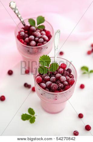 Glass Of Cranberry Dessert