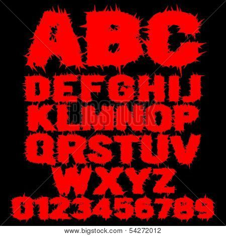 Set of red studded scary alphabet